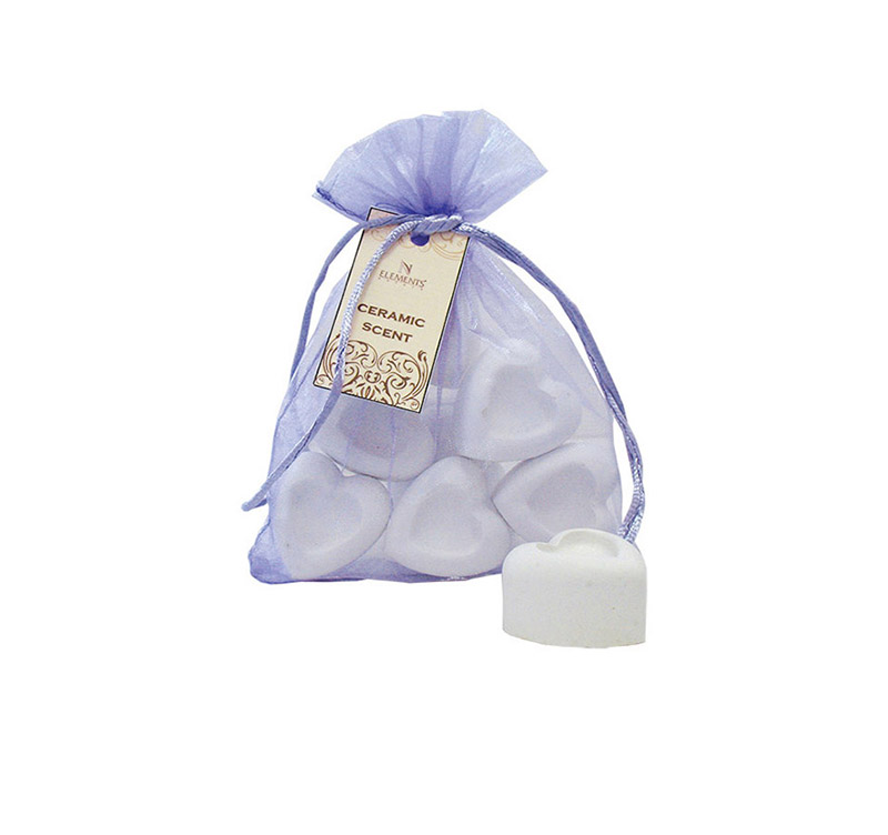 Ceramic Diffusors Hearts - 6 pcs in organza bag 636H6