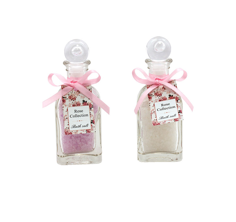 Rose Collection-Bath salt in square glass 120 g-RSC115